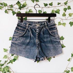 Vintage Pleated Dark Wash Denim Shorts